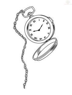Image result for alice in wonderland pocket watch drawing