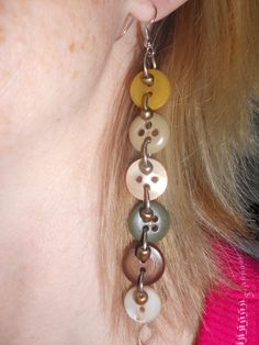 old, antique, unused buttons..recycled into way cool earrings.. made by Gramma Mel