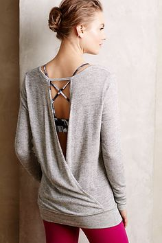 Draped Silver Pullover - anthropologie.com