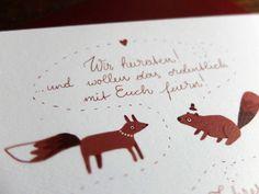 Stephanie & Gerry | Wald und Schwert www.waldundschwert.com #stationary #wedding #invitation #handwriting #typography #fox #beaver Invites, Wedding Invitations, Paper Goods, Handwriting, Stationary, Place Cards, Fox, Typography, Place Card Holders
