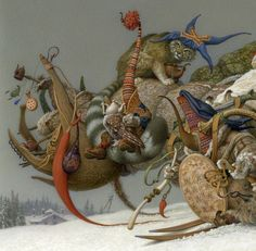 """www.duginart.com  © Andrej Dugin """"Stina""""  ´The Winter´ Detail acrylic on paper private collection"""