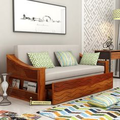 Buy Thar Sofa Cum Bed (King Size, Honey Finish) Online in India - Wooden Street Home Decor Furniture, Sofa Furniture, Furniture Design, Sofa Cumbed Design, Latest Sofa Designs, Wooden Sofa Set Designs, Comfortable Sofa, Home Room Design, Living Room Decor