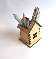Laser cut Pencil Holder Small house Home Decor by OlaDiClock