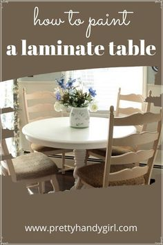 Would you believe this table was an ugly laminate tabletop? Painting Laminate Table, Laminate Table Top, Kitchen Desks, Diy Kitchen, Tabletop, Dining Table, Furniture, Design, Inspiration