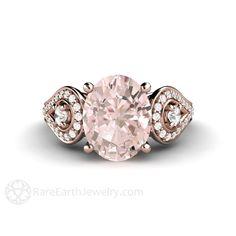 Morganite 3 Stone Engagement Ring rareearthjewelry.com