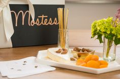 Mostess Easy Breezy Spring Appetizer.  All items (minus the cheese, nuts and flowers!) included in the Celebrate Spring Box.