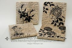 Heather's fabulous coasters: En Français, Fabulous Florets, Blooming with Kindness, Summer Silhouettes, & Serene Silhouettes. All supplies except coasters from Stampin' Up!