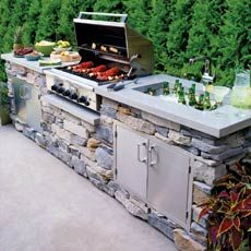outdoor kitchen ideas, This is a great island idea for your outdoor living space. I really like the look of stones in the outdoor bbq area. With the lighter concrete counter top. Outdoor Rooms, Outdoor Living, Outdoor Decor, Rustic Outdoor, Outdoor Ideas, Outdoor Patios, Outdoor Bars, Party Outdoor, Outdoor Stone
