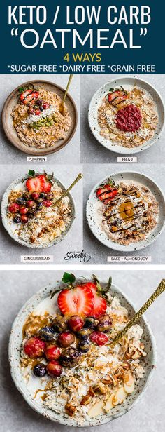 Keto Porridge - a comforting low carb hot breakfast perfect for chilly mornings. Sugar free low carb dairy free Keto Porridge - a comforting low carb hot breakfast perfect for chilly mornings. Sugar Free Oatmeal, Low Carb Oatmeal, Carbs In Oatmeal, Oatmeal Toppings, Low Carb Recipes, Low Carb Keto, Healthy Recipes, Healthy Foods, Vegetarian Recipes