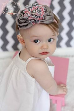 Gray and Pink Chevron Satin Rosette Flower Headband -Baby flower headband- Newborn headband- Infant headband- Toddler headband