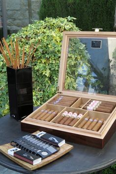 70th Birthday Parties, 50th Party, 40th Bday Ideas, Cigar Bar, Wedding Details, Wedding Ideas, Cigars, Weddings, Decorating