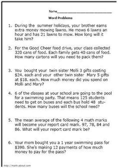 Math Worksheets ?» Math Worksheets 4th Grade Word Problems ...