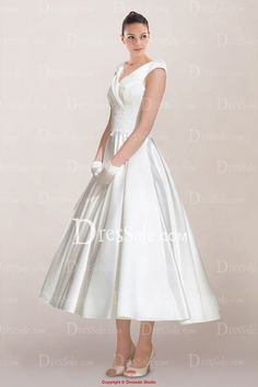 Charming V-neckline Tea-length Satin Wedding Dress with Lace Ornaments and Buttons Back