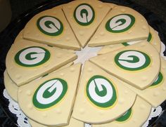 Green Bay Packers cheese wedge sugar cookies. If only I could successfully bake something.