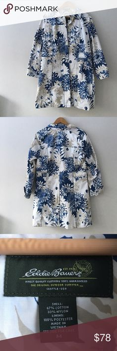 Eddie Bauer Floral Trench Coat Gorgeous floral hues of blue & beige make up this trench coat by Eddie Bauer. Shell: 67% cotton 33% nylon. Fully lined and 100% polyester. Button front. Two front pockets. Size Medium. NWOT. Eddie Bauer Jackets & Coats Trench Coats