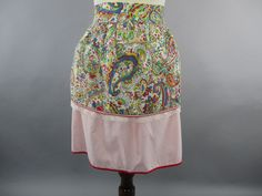 50s Paisley Apron Reversible Paisley Apron with Pocket,Pink Cotton Hostess Apron Lace Trim 1950s Half Apron by LadyScarlettsVintage on Etsy