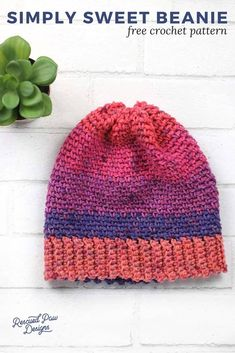 16d1584bbfb Make this Simple Beginner Friendly Crochet Beanie Today! Free Pattern from  Rescued Paw Designs Crochet