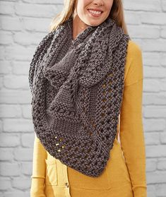 Textured Triangle Shawl Free Knitting Pattern LM5408