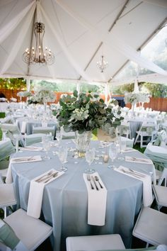 Light Blue and White Outdoor Reception Decor by florine