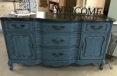 Blue  with black glaze French provincial buffet