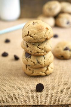 Soft and chewy Peanut Butter Reese's and Chocolate Chip Cookies. Ultra thick cookie loaded with tons of dark chocolate chips. | chefsavvy.com #recipe #dessert #cookies