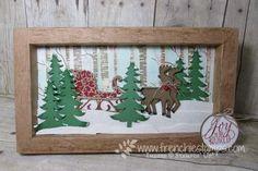 Santa's Sleigh Thinlits, DIY paper 3-D Frame, Woodland embossing folder, Christmas Frame frenciestamps.com