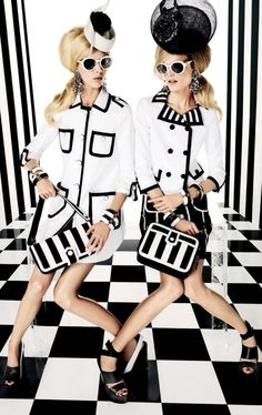 Bold stripes and prints gone wild in this editorial featuring Hanne Gaby Odiele and Juliana Schurig for Vogue Japan March 2013 issue. Styled by the daring Anna Dello Russo.