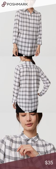 """Ann Taylor LOFT Plaid Button. up So cute and on trend! Very similar to the popular """"window pane"""" button style. Rounded collar, button front, buttoned cuffs, shirttail hem. Only imperfection is a small faint stain on the inside button flap that is not noticeable when worn (because it's on the inside). No trades, please! 030117gb LOFT Tops Button Down Shirts"""