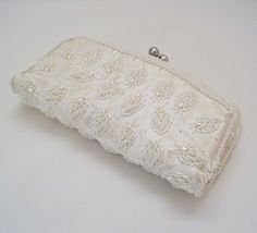 (already sold) vintage white beaded clutch