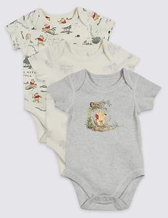 3 Pack Winnie the Pooh & Friends™ Bodysuits Pack Winnie the Pooh Unisex Bodys New Baby Boys, My Baby Girl, Baby Kids, Baby Outfits, Kids Outfits, Disney Baby Clothes, Cute Baby Clothes, Unisex Baby Clothes, Winnie The Pooh Nursery
