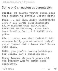 Big hero 6 characters as parents - Hiro would be me, hahaha