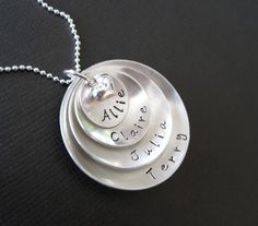 GREAT Mother's Day idea!  SUPER MOM Necklace / Four Layered Domed Sterling by byHannahDesign, $65.00