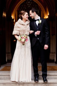 Warm fur shrug for this bride, via 'Jenny Packham Sequin Glamour For A Black Tie, City Chic Winter Wedding' http://www.sarahsalotti.co.uk/