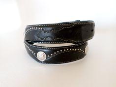 "Size 38 97 cm 1 1/2"" 38mm Black Leather Concho Snap On Belt Strap w Studs and Billets, Southwestern Country Western Wear, Boho, ID 267169894 by LaBelleBelts on Etsy"