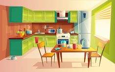 vector cartoon illustration of cozy modern kitchen with appliances fridge stove toaster microwave kettle. comfortable and clean dining-room interior inside concept with furniture and tableware Episode Backgrounds, Anime Backgrounds Wallpapers, Anime Scenery Wallpaper, Kitchen Background, Living Room Background, Cartoon Background, Animation Background, Kitchen Cartoon, Casa Anime