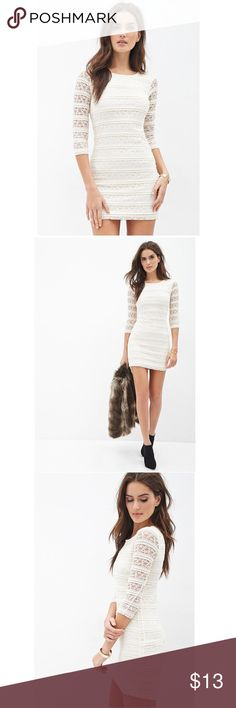 Forever 21 Contemporary mini lace dress (cream) Lovely cream colored lace covered dress with tags has never been worn! Forever 21 Dresses Mini