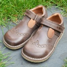 Natural Leather T-Bar Shoe with Rubber Sole Also Kidsen £64