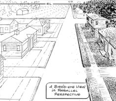 Drawing Street and Houses in Parallel Perspective