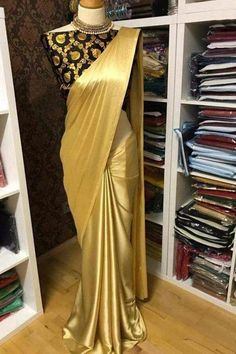 Solid Satin Sarees with Jacquard Blouse from Stf Store Satin Saree, Silk Satin, Silk Sarees, Indian Sarees, Saris, Brocade Blouses, Satin Blouses, Golden Saree, Online Shopping Sarees