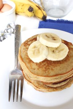 These Peanut Butter Banana Coconut Flour Pancakes are gluten free, grain free, and will keep you full for hours!