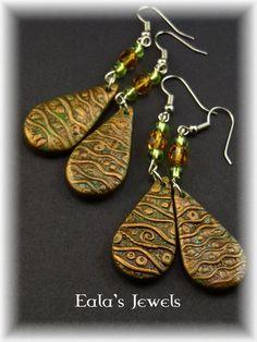 Klimt's drop forest earrings by Shatiel85.deviantart.com on @DeviantArt
