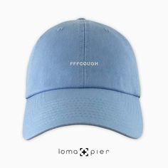 d85550e14ef FFFCOUGH typography embroidered on a carolina blue unstructured dad hat  with white thread by loma+