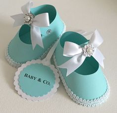 Baby shower christening girl shoe favors tags robin egg blue baby co 10 eba Baby Shower Food Menu, Baby Shower Niño, Baby Shower Signs, Party Favor Bags, Favor Tags, Favor Boxes, Recuerdos Baby Shower Niña, Baby Co, Diy Baby
