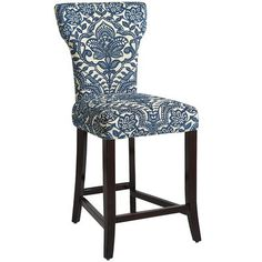 Carmilla Counterstool - Blue Damask--possibly for the counter looking into the kitchen?!?