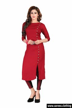 MAROON COLOR DESIGNER NICE LOOKING KURTI . Fabric - Rayon Pattern - Fancy buttons with loops Type - A-Line Neck Style - Boat Neck Sleeve - Quarter (3/4) Seeve Length - up to 48 Size - XL Maroon Color Cotton Plain Kurti Stitched Casual Wear Kurta Supported Size XXL