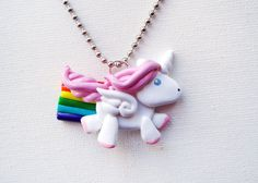 Flying Rainbow Unicorn Necklace polymer clay by MadAristocrat, $18.00