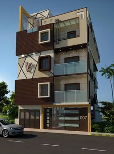 Residence of mr.raghav asian style houses by a-z architects & vaastu asian House Outer Design, House Front Design, Small House Design, Modern House Design, 3 Storey House Design, Duplex House Design, Residential Building Design, Building Exterior, West Facing House