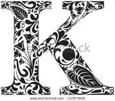 Floral initial capital letter K