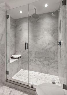 White subway tile bathroom inspiration tile shower 7 home Gray Shower Tile, White Subway Tile Bathroom, Master Bathroom Shower, Bathroom Wall Decor, Bathroom Grey, Marble Bathrooms, Gray Bathrooms, Gray Tiles, Marble Showers