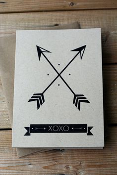 Crossed Arrows - XOXO - Hand Printed Silkscreen Greeting Card / Note Card - Blank Inside